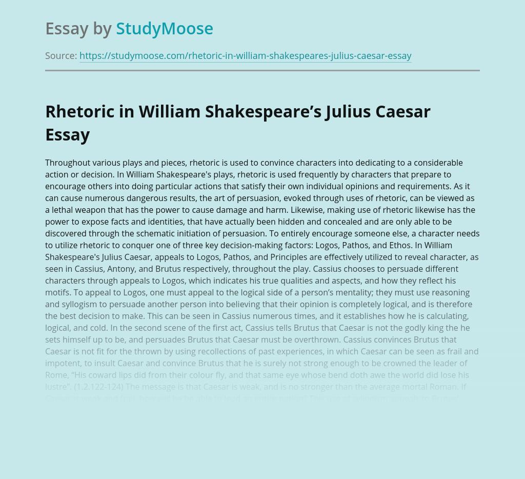 Rhetoric in William Shakespeare's Julius Caesar
