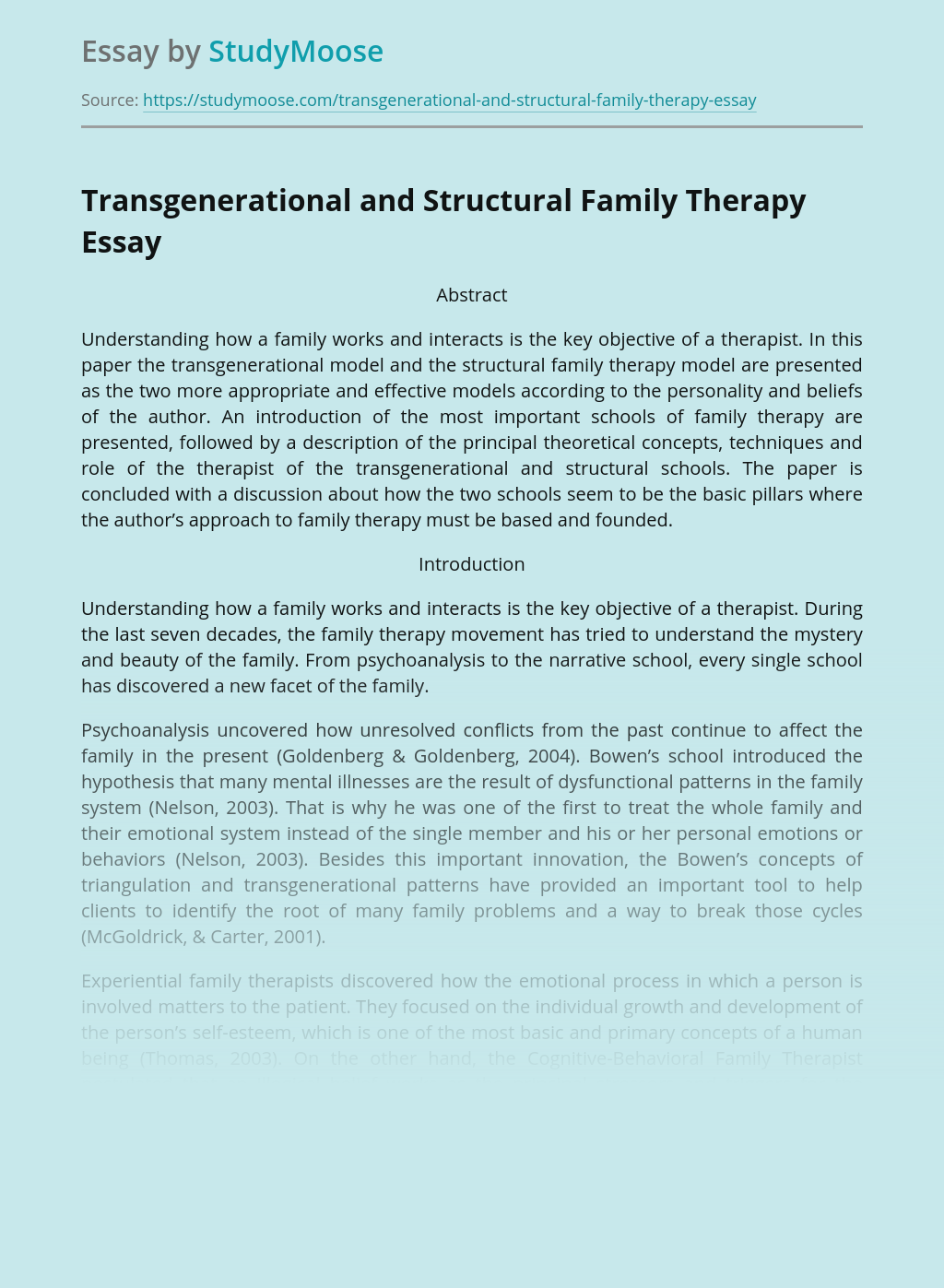 Transgenerational and Structural Family Therapy