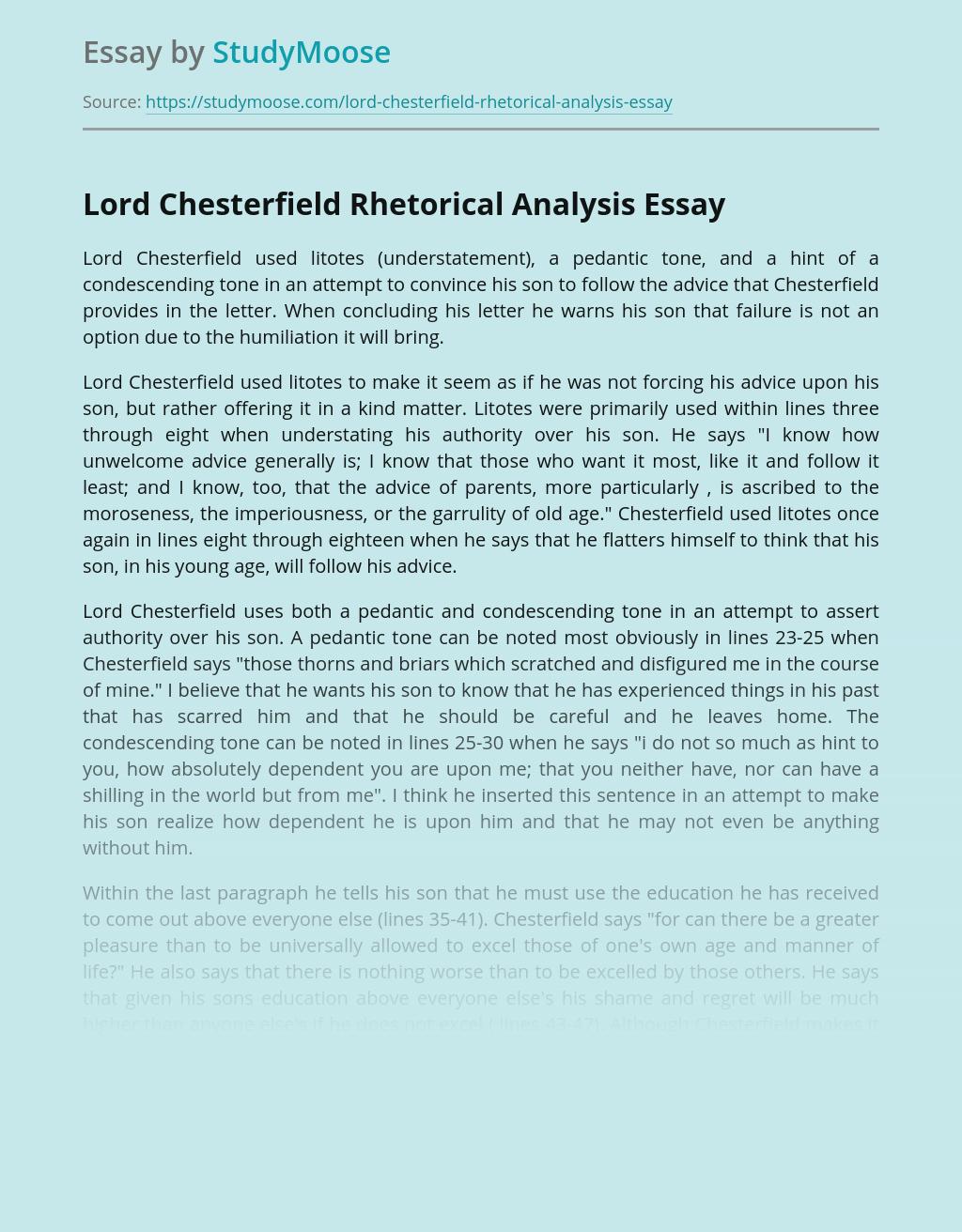 Lord Chesterfield Rhetorical Analysis