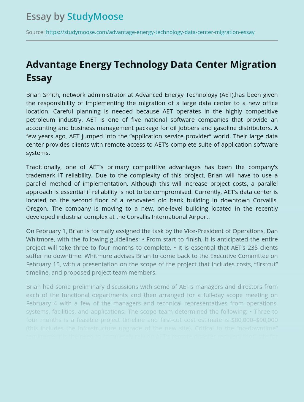 Advantage Energy Technology Data Center Migration