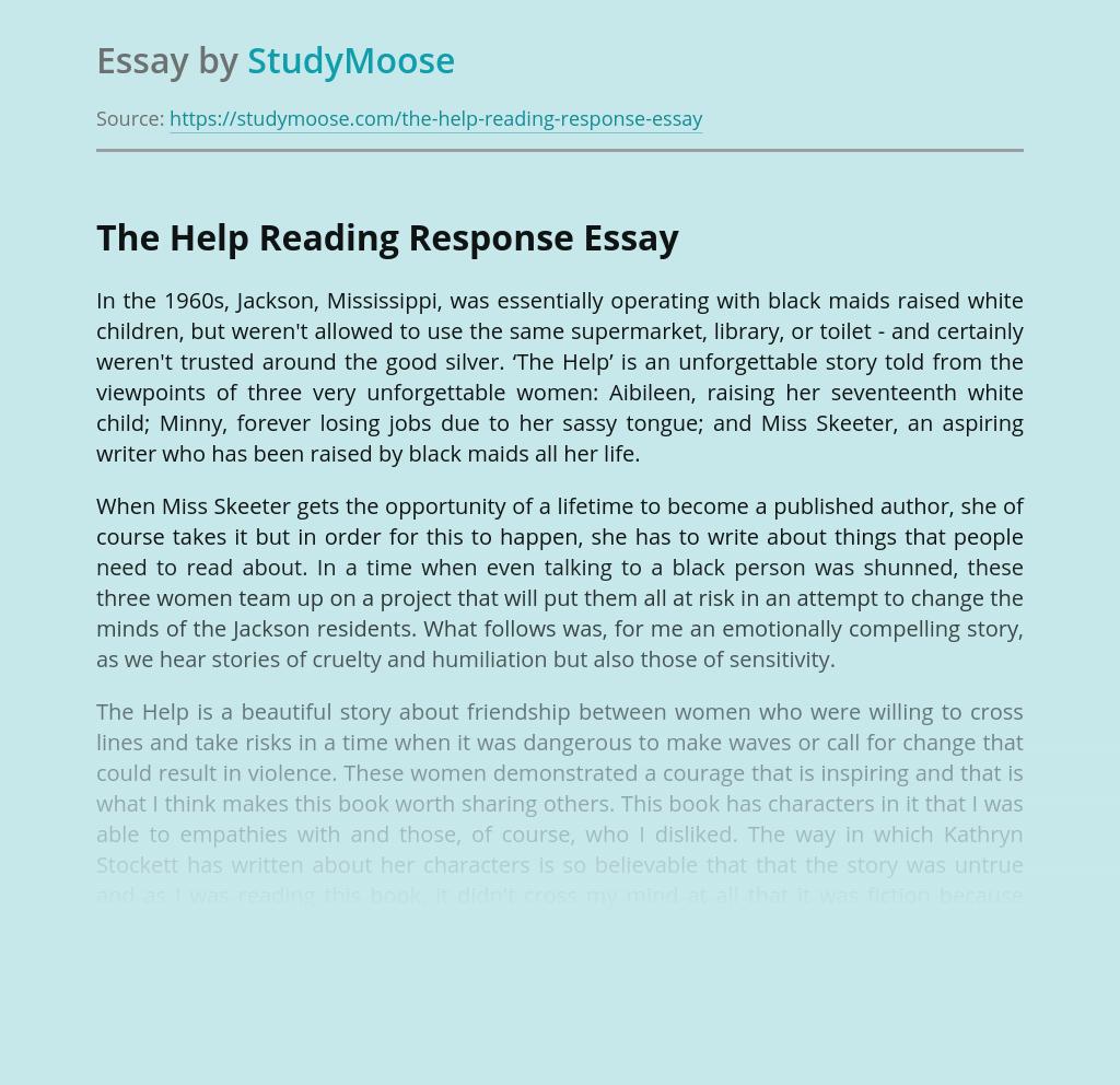 The Help Reading Response