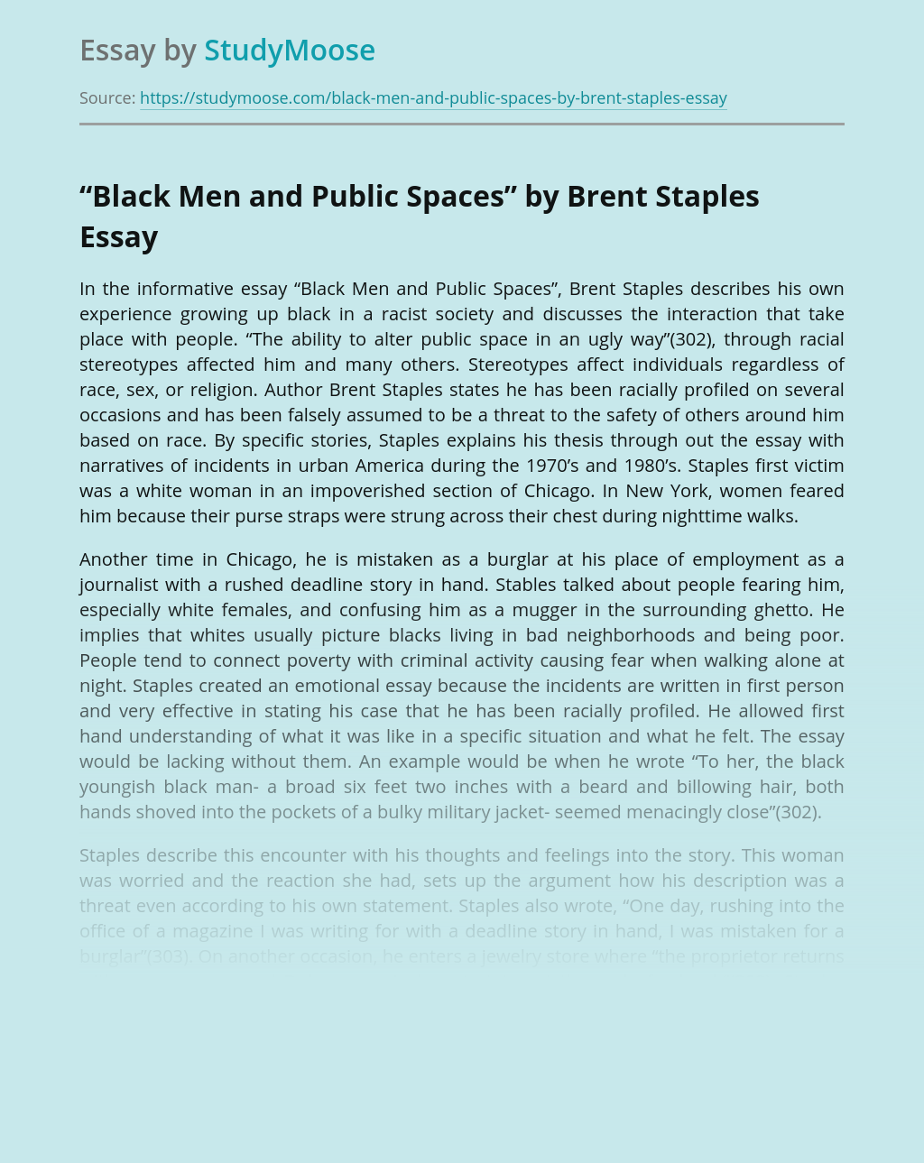 """Black Men and Public Spaces"" by Brent Staples"