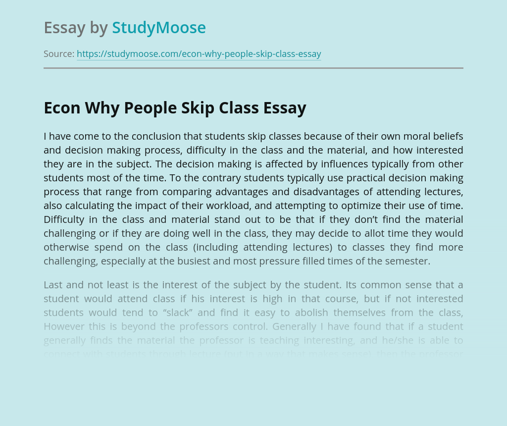Econ Why People Skip Class