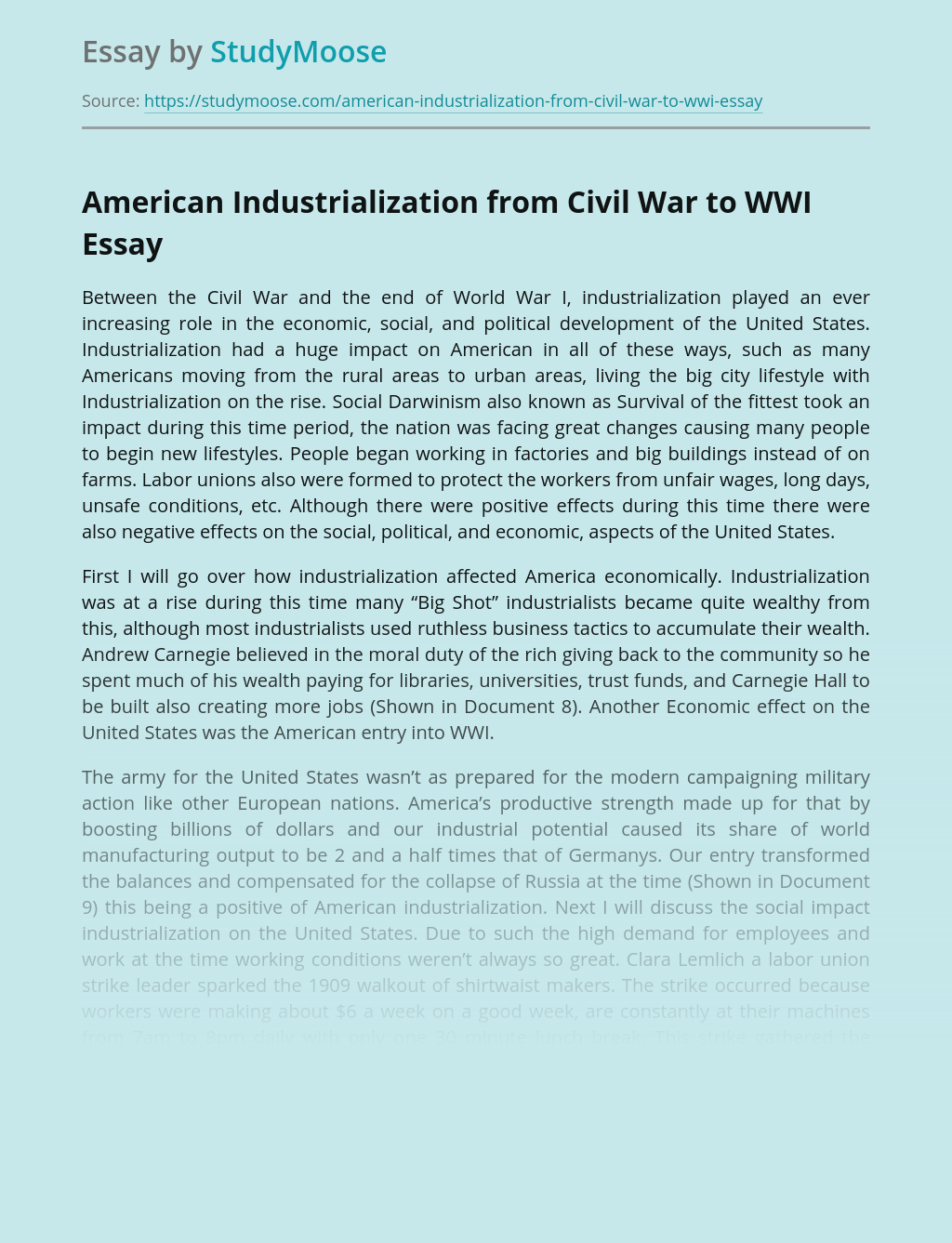 American Industrialization from Civil War to WWI