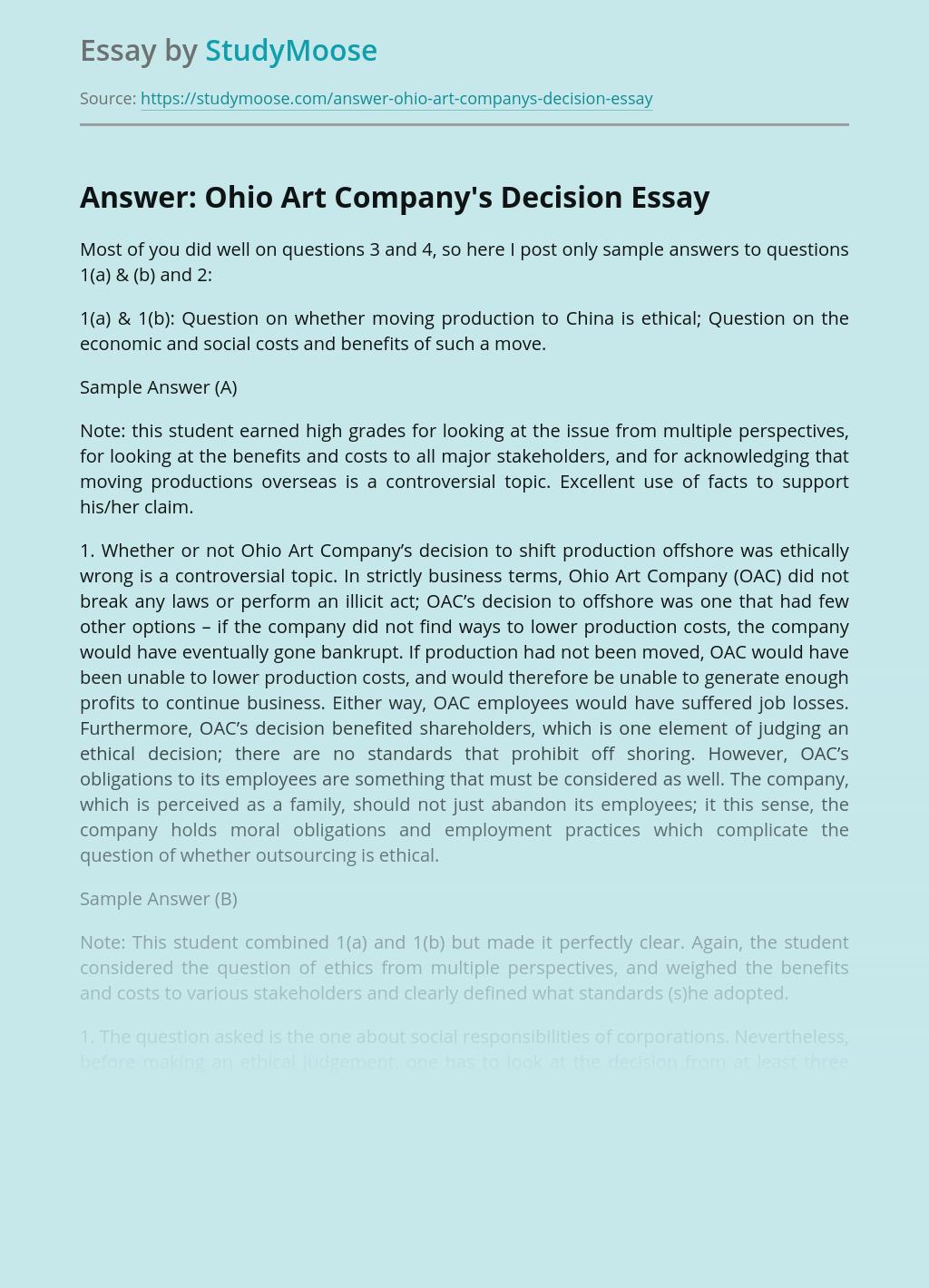 Answer: Ohio Art Company's Decision
