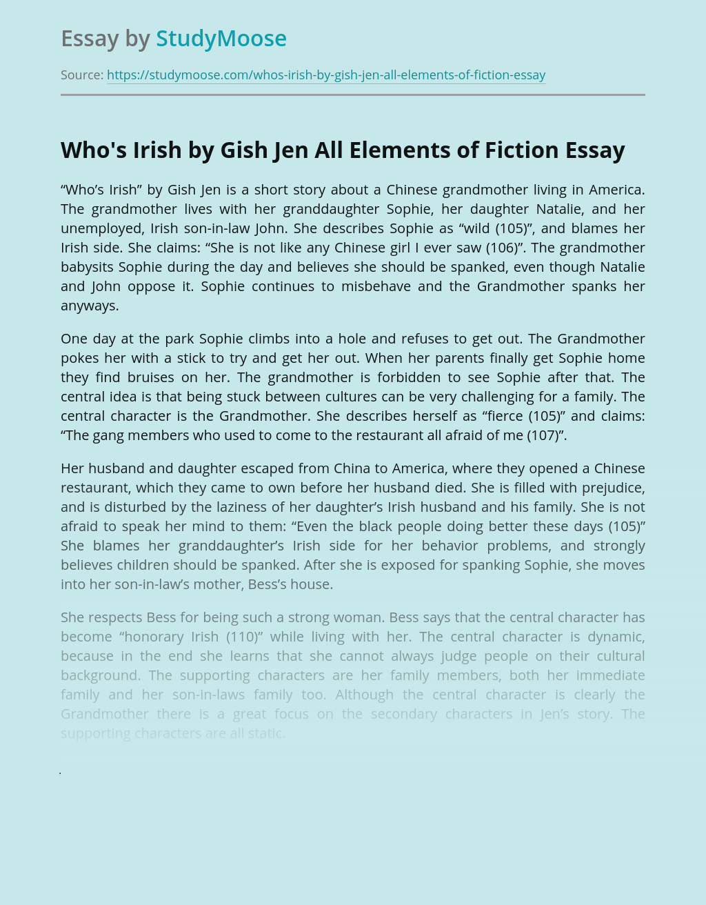 Who's Irish by Gish Jen All Elements of Fiction