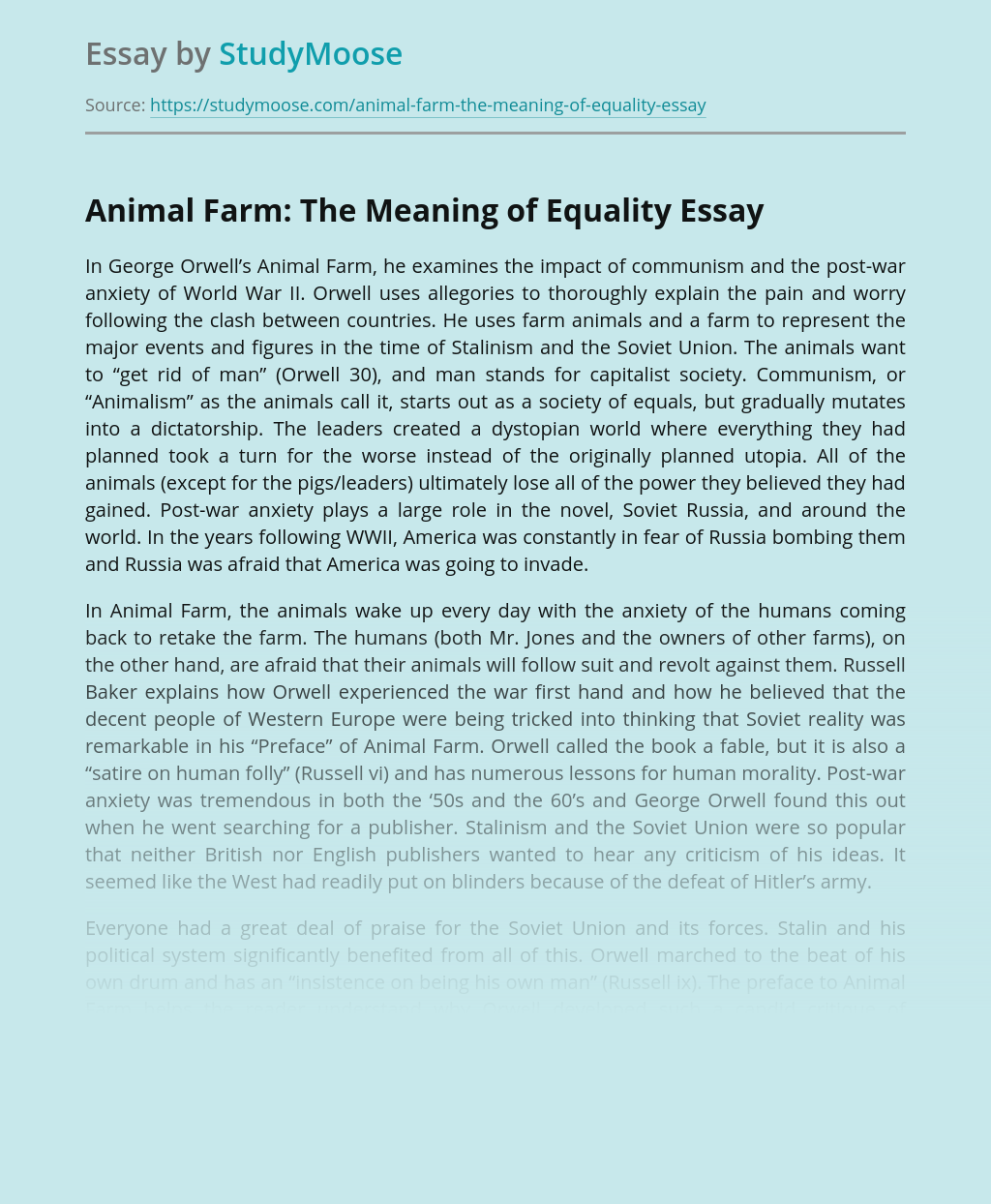 Animal Farm: The Meaning of Equality