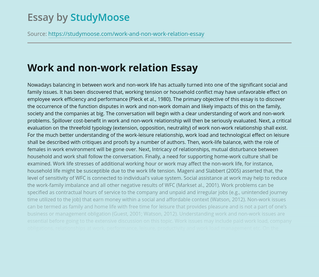 Work and non-work relation
