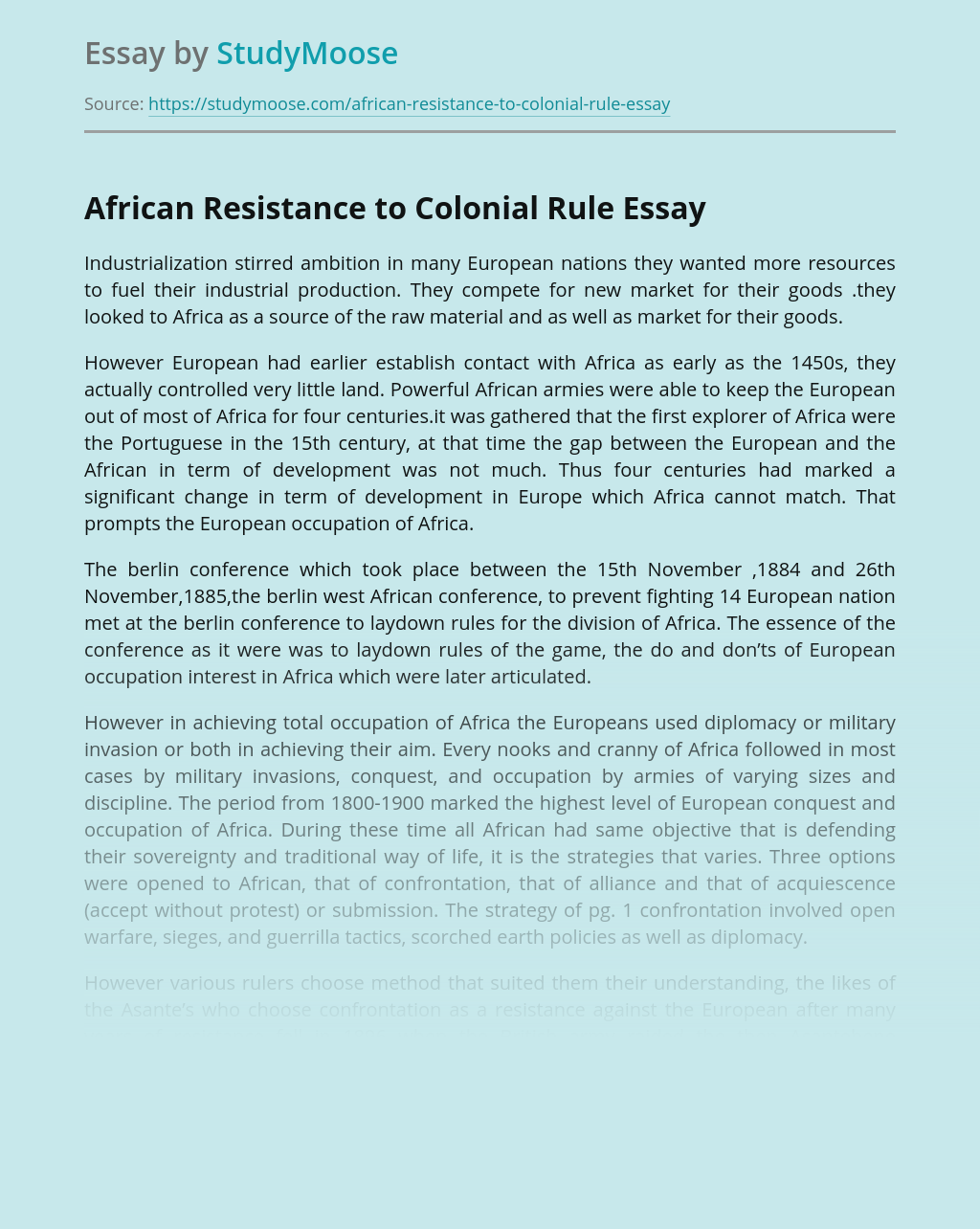 African Resistance to Colonization
