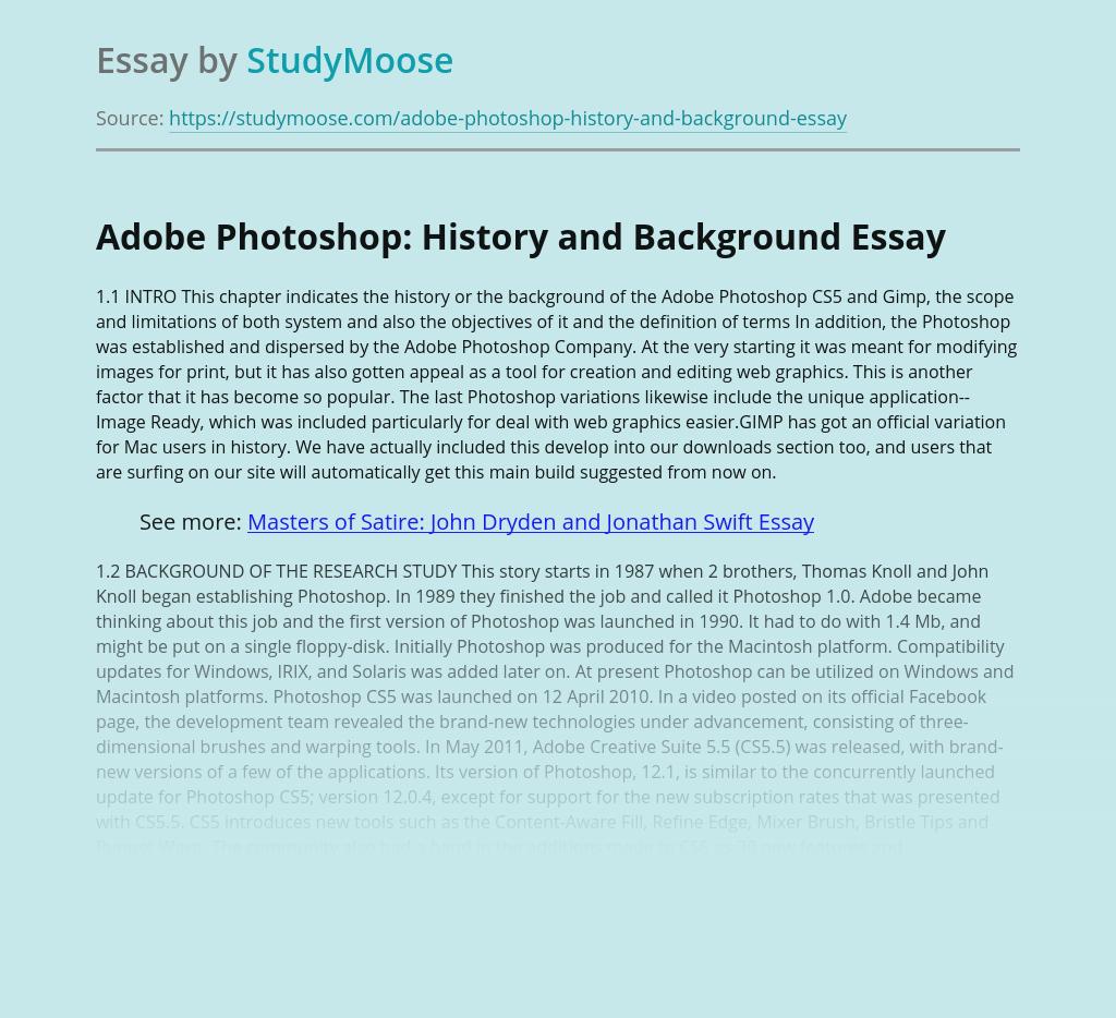 Adobe Photoshop: History and Background