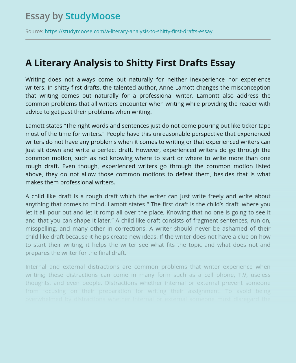 Analysis to Shitty First Drafts in Writing