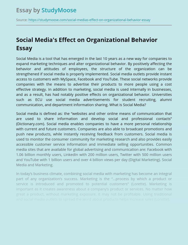 Social Media's Effect on Organizational Behavior