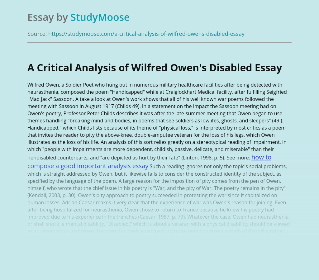 Analysis of Wilfred Owen's Disabled
