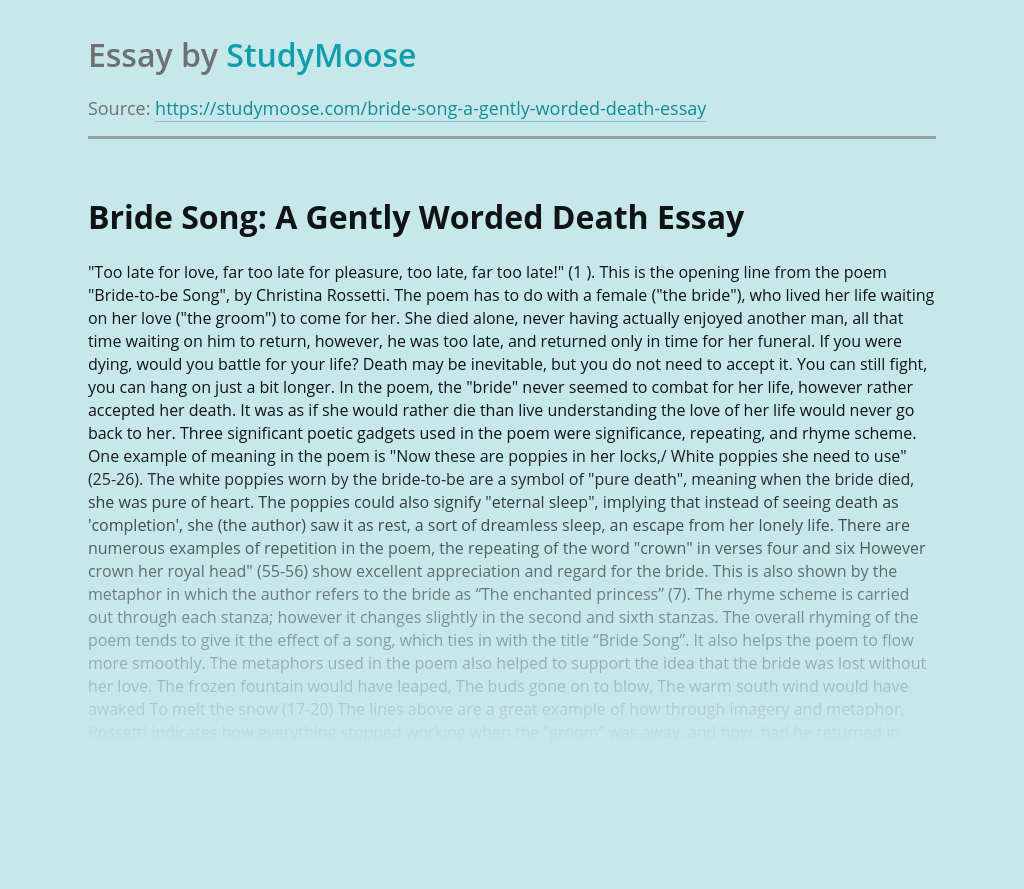 Bride Song: A Gently Worded Death