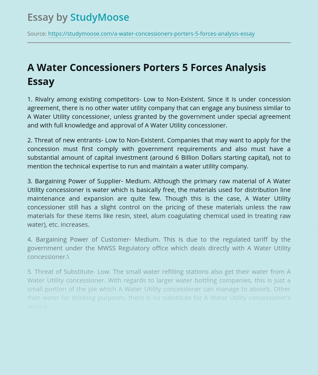 A Water Concessioners Porters 5 Forces Analysis
