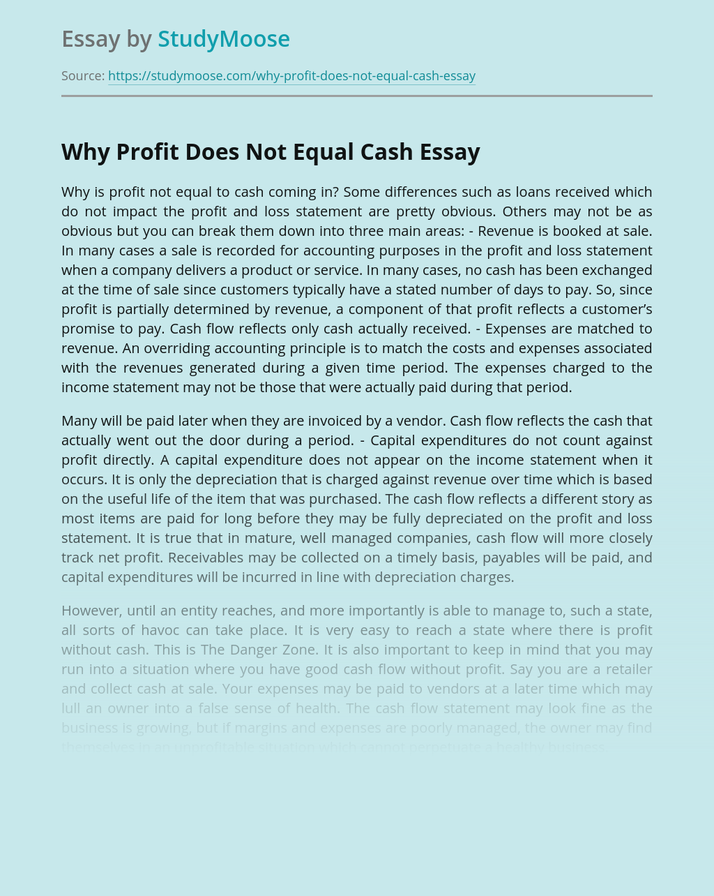Why Company's Profit Does Not Equal Cash
