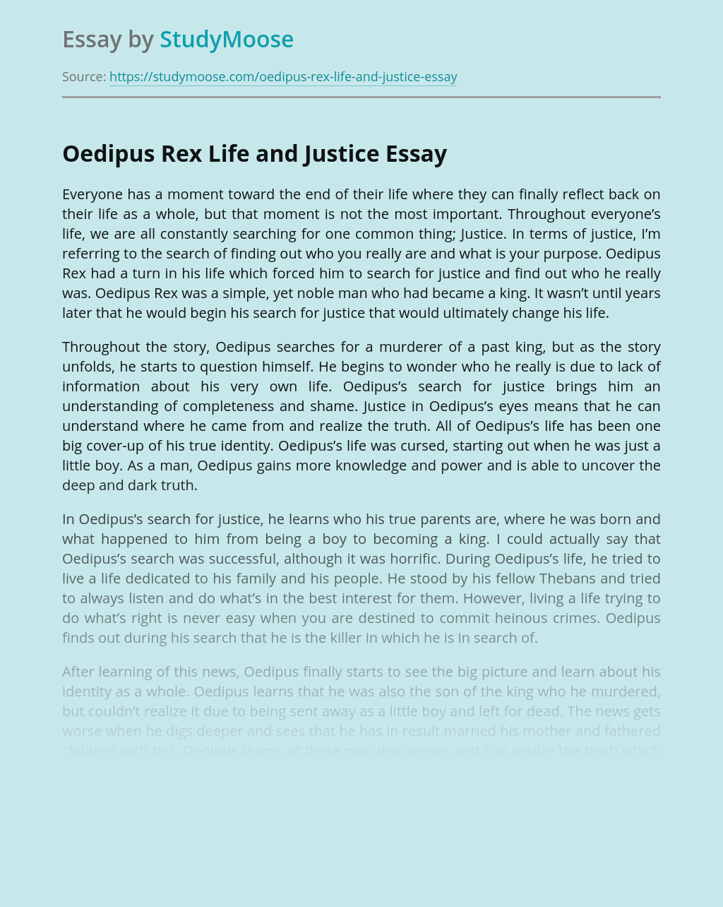 Oedipus Rex Life and Justice