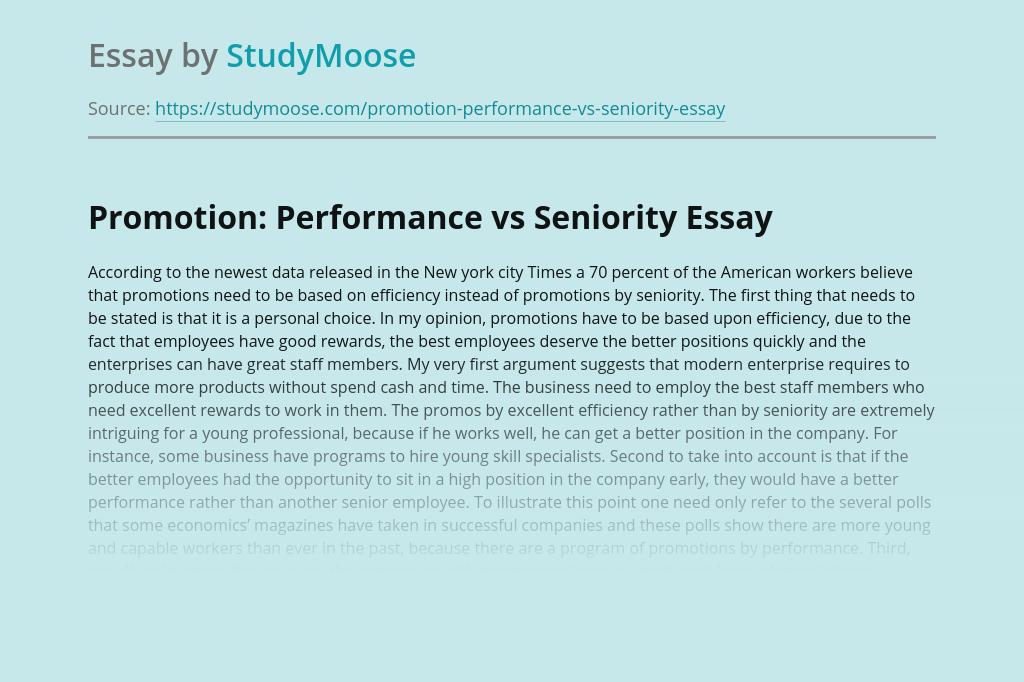Promotion: Performance vs Seniority
