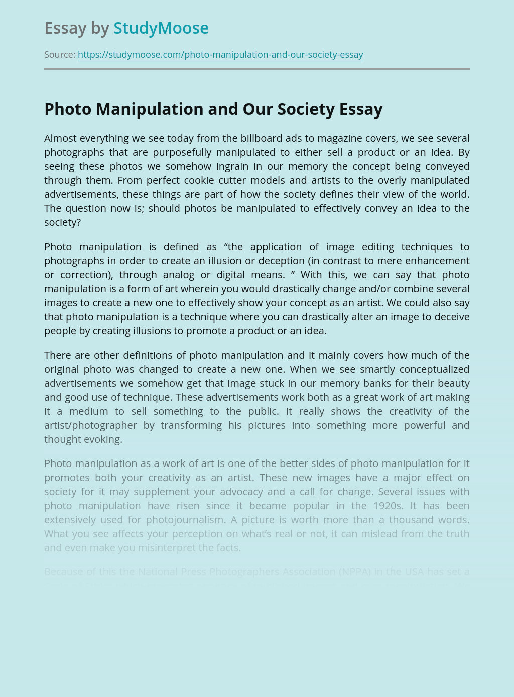 Photo Manipulation and Our Society