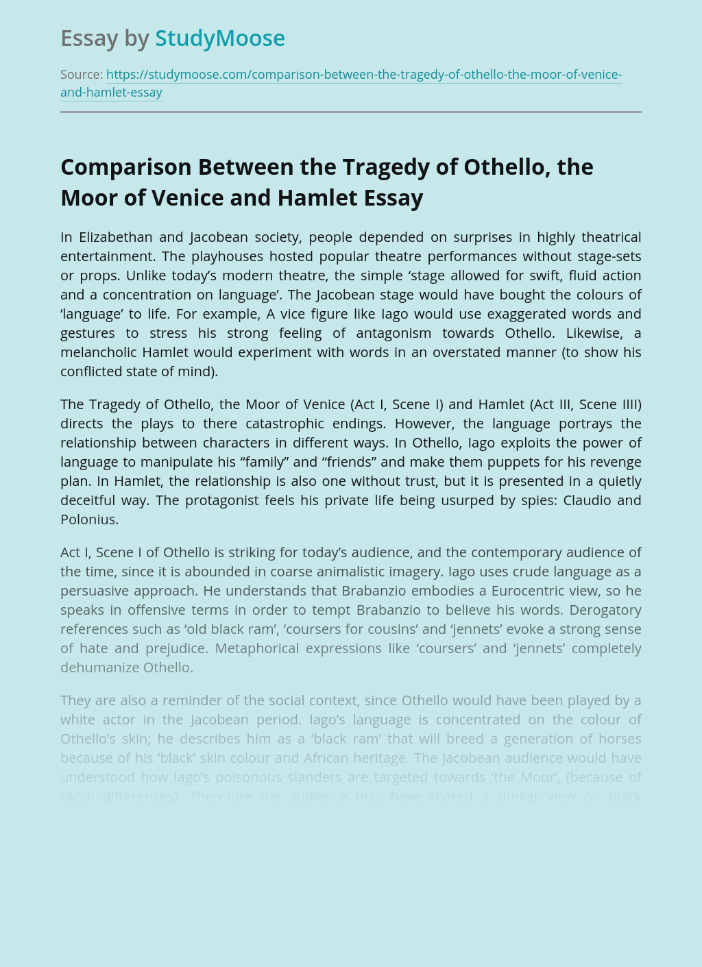 Comparison Between the Tragedy of Othello, the Moor of Venice and Hamlet