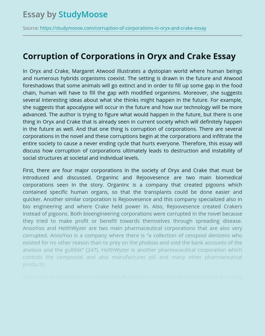 Corruption of Corporations in Oryx and Crake