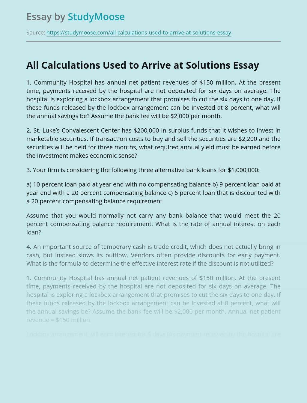 All Calculations Used to Arrive at Solutions