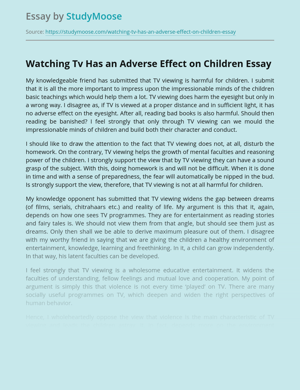 Watching Tv Has an Adverse Effect on Children
