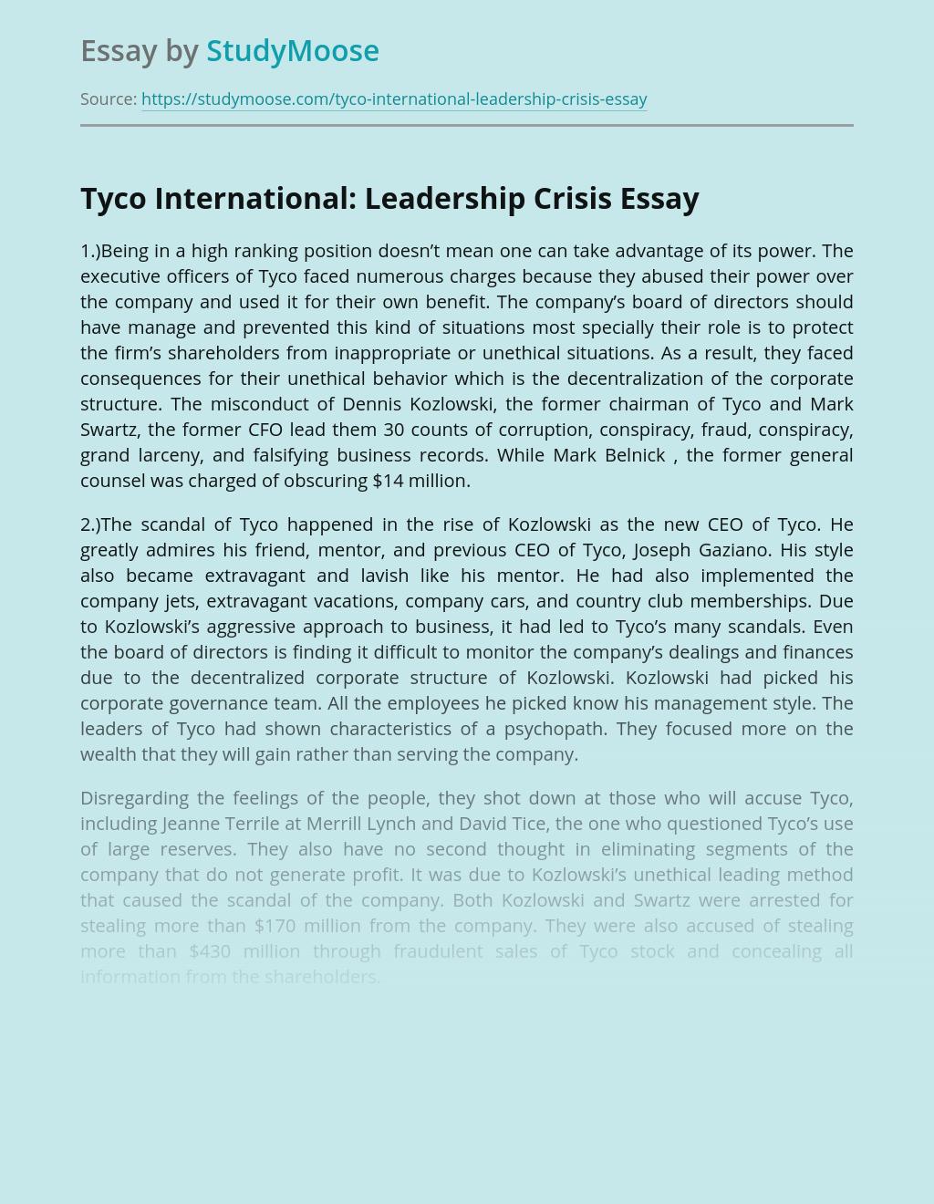 Tyco International: Leadership Crisis