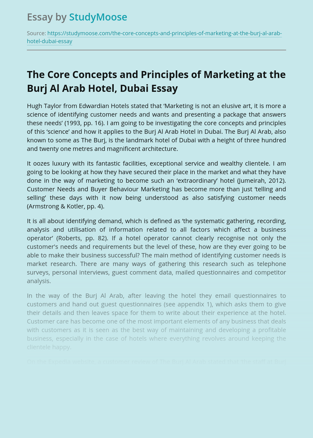 The Core Concepts and Principles of Marketing at the Burj Al Arab Hotel, Dubai