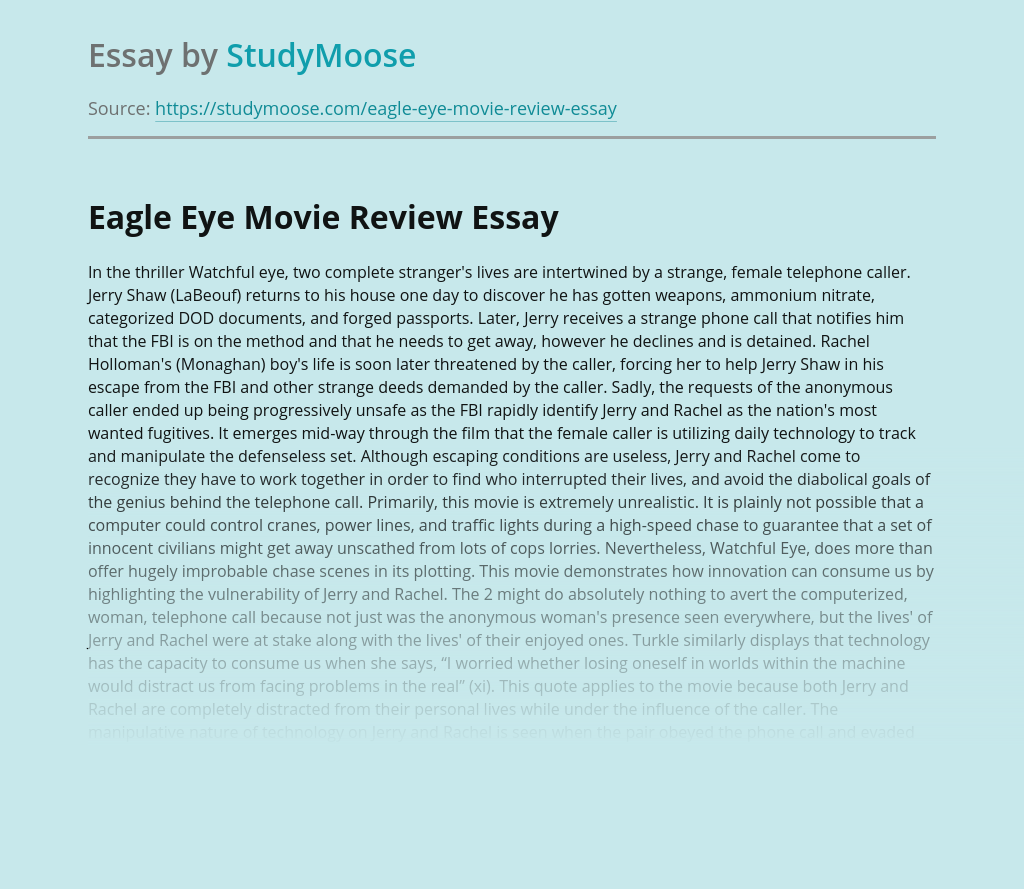 Eagle Eye Movie Review