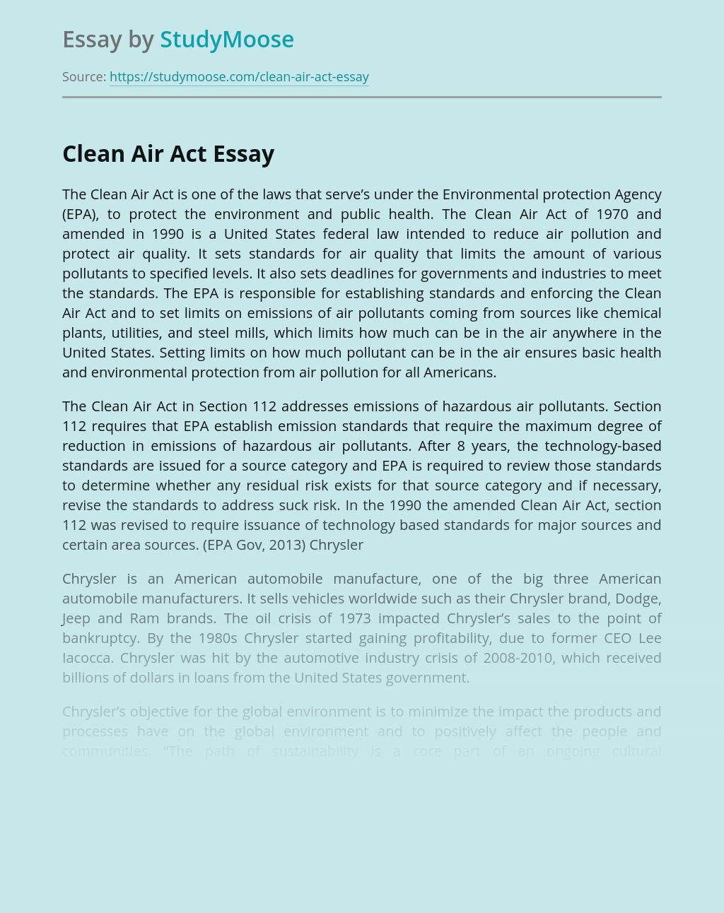 Law Against Air Pollution The Clean Air Act