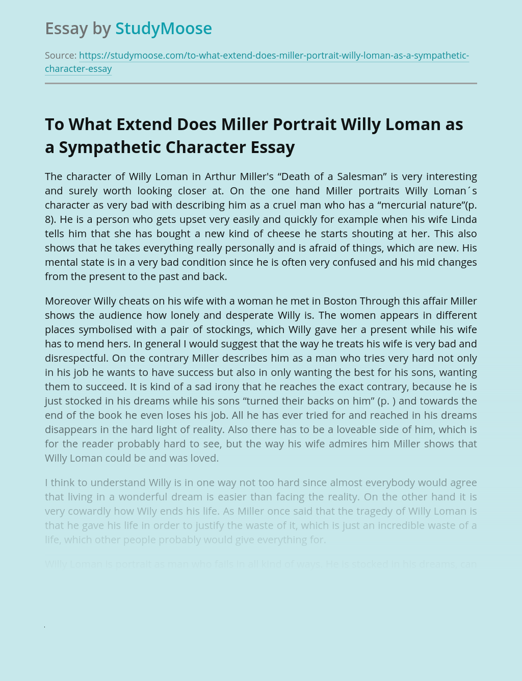 To What Extend Does Miller Portrait Willy Loman as a Sympathetic Character