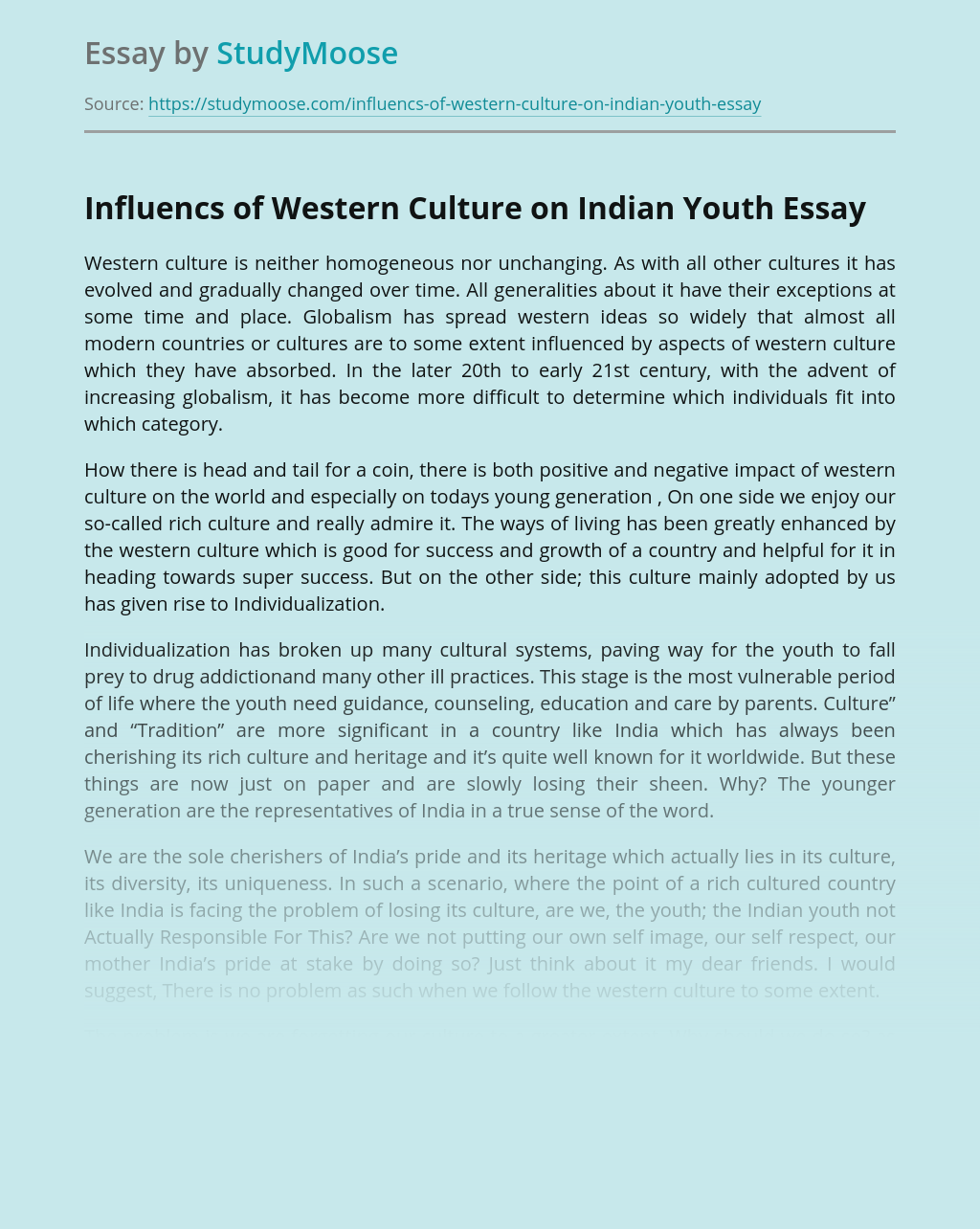 Influencs of Western Culture on Indian Youth
