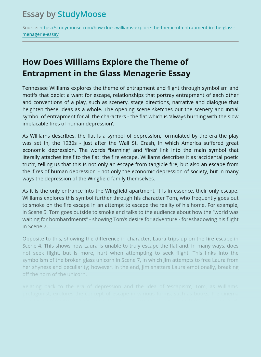 How Does Williams Explore the Theme of Entrapment in the Glass Menagerie