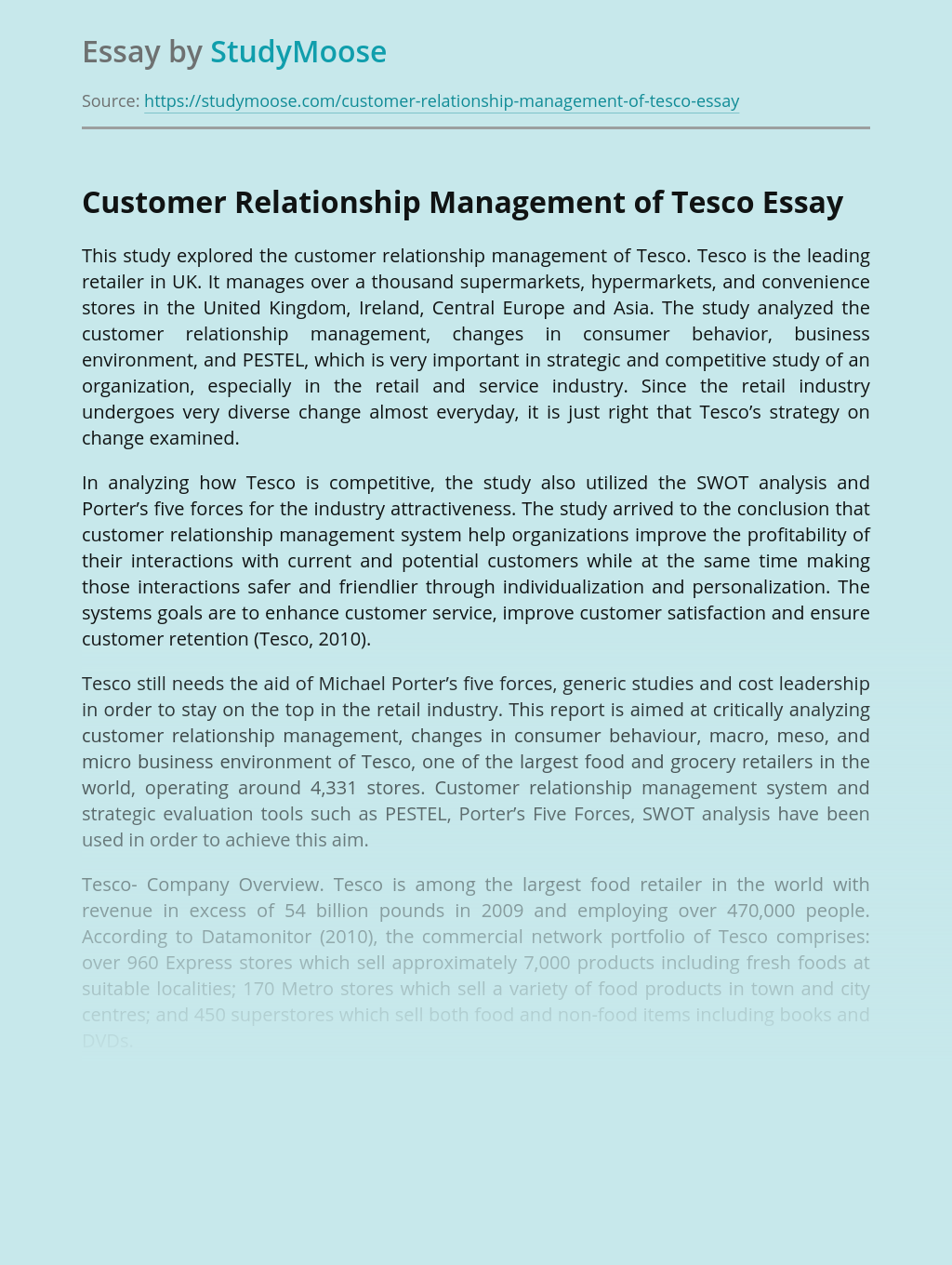 Customer Relationship Management of Tesco