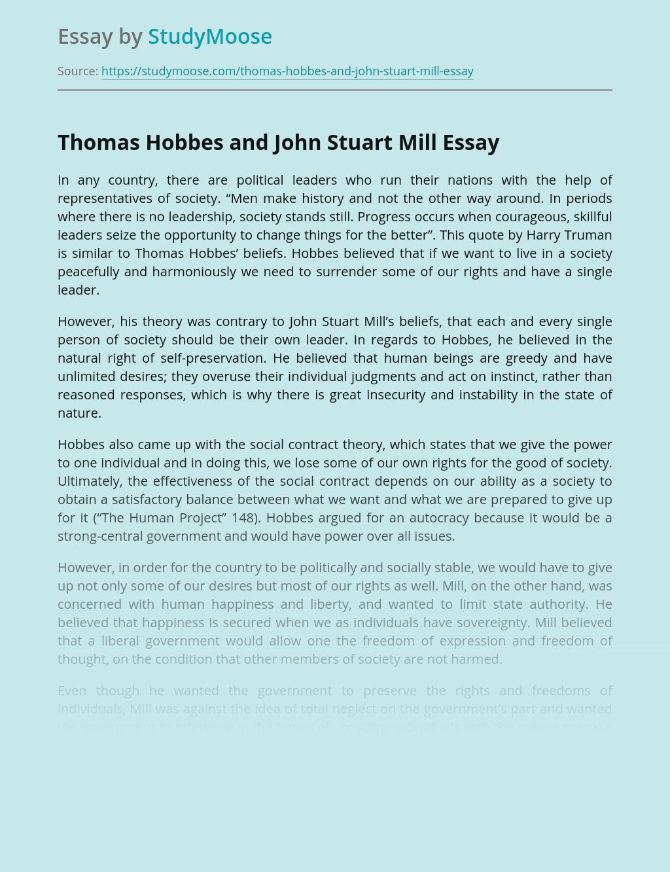 Thomas Hobbes and John Stuart Mill