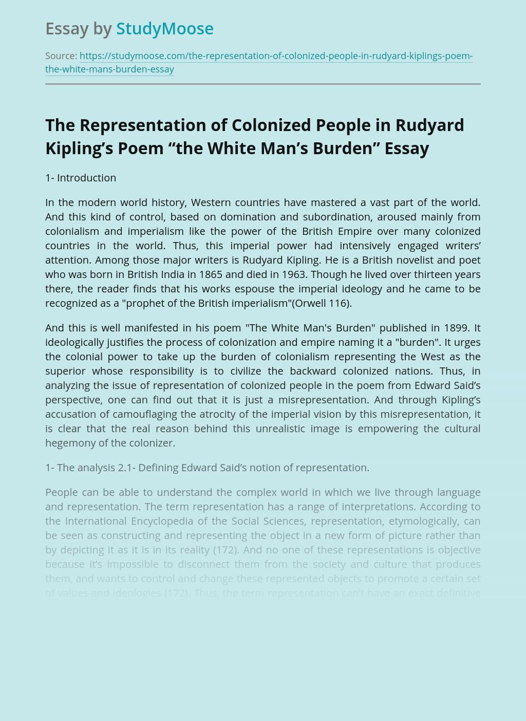 "The Representation of Colonized People in Rudyard Kipling's Poem ""the White Man's Burden"""