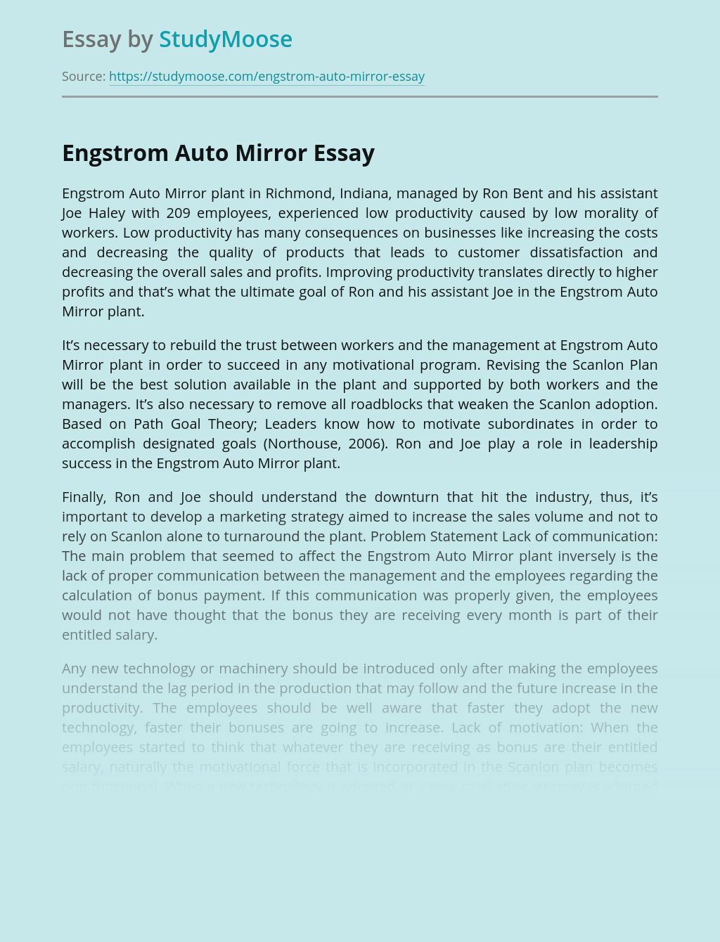 Case Study Analysis: Engstrom Auto Mirror Plant