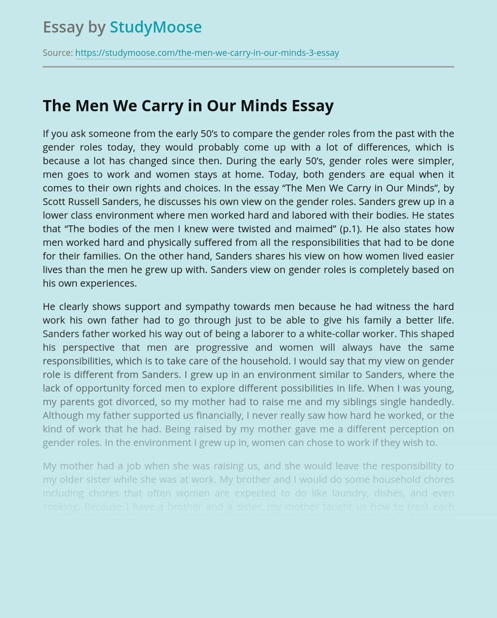 The Men We Carry in Our Minds by Scott Russell Sanders