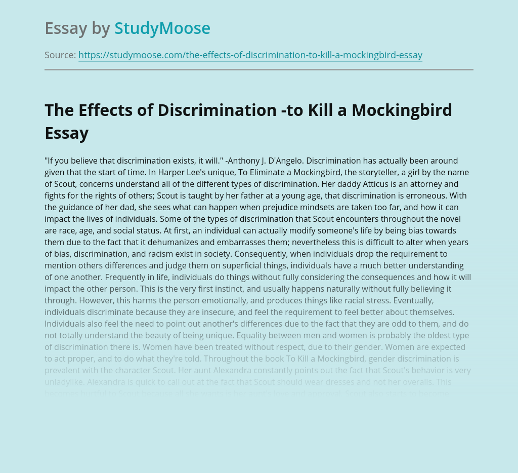 The Effects of Discrimination -to Kill a Mockingbird