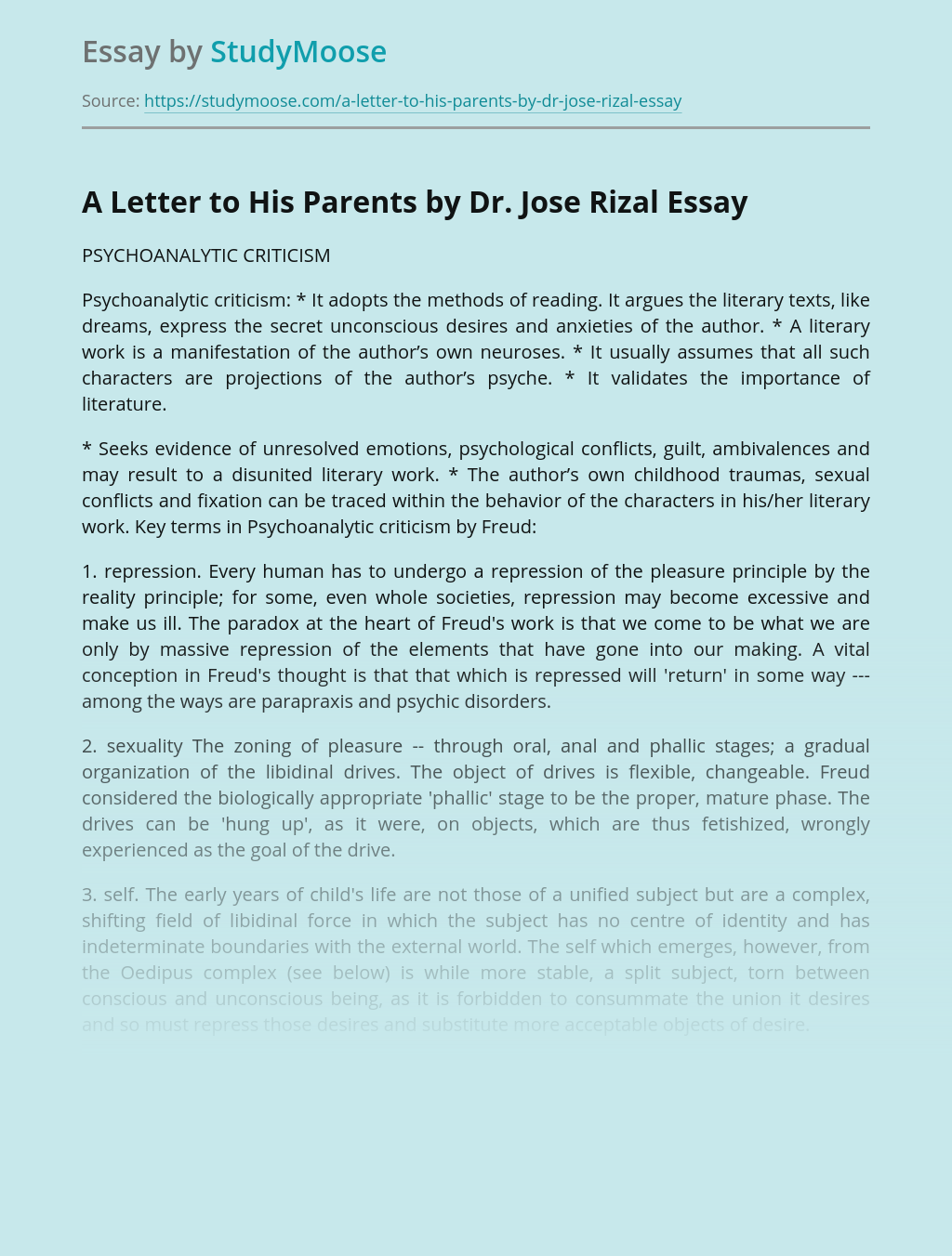 A Letter to His Parents by Dr. Jose Rizal