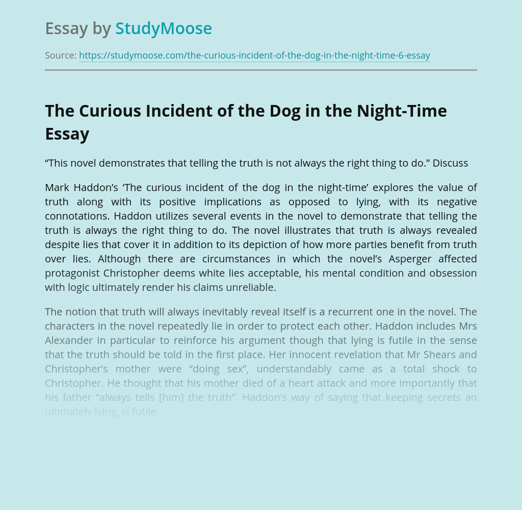 The Curious Incident of the Dog in the Night-Time: the Value of Truth