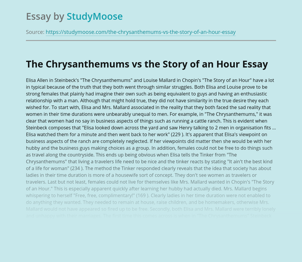 The Chrysanthemums vs the Story of an Hour