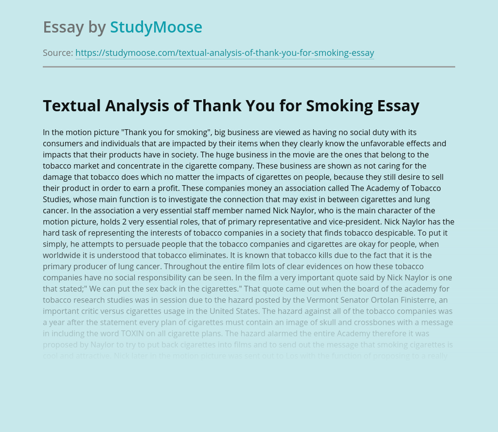 Textual Analysis of Thank You for Smoking