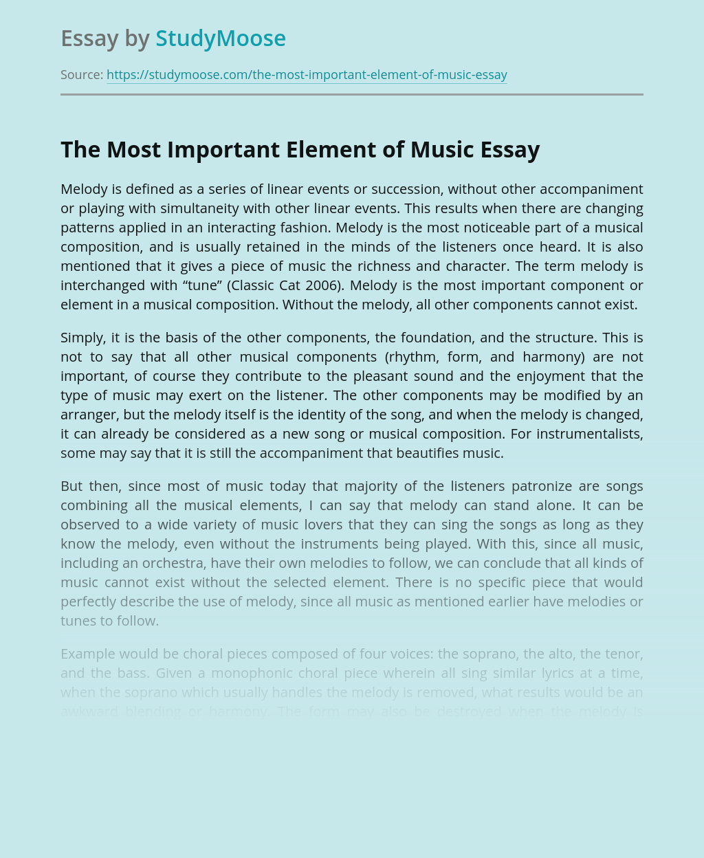 The Most Important Element of Music