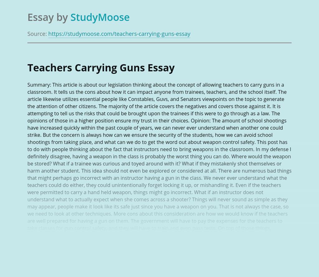 Teachers Carrying Guns