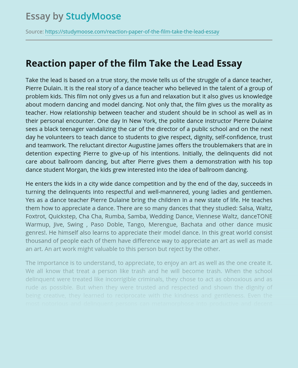 Reaction paper of the film Take the Lead