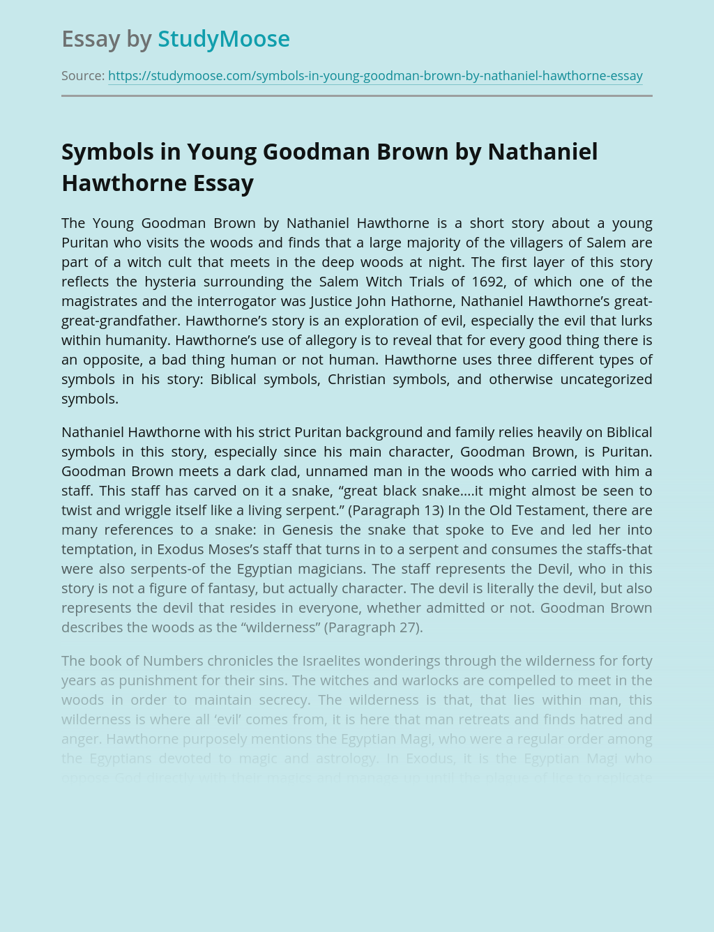 Symbols in Young Goodman Brown by Nathaniel Hawthorne
