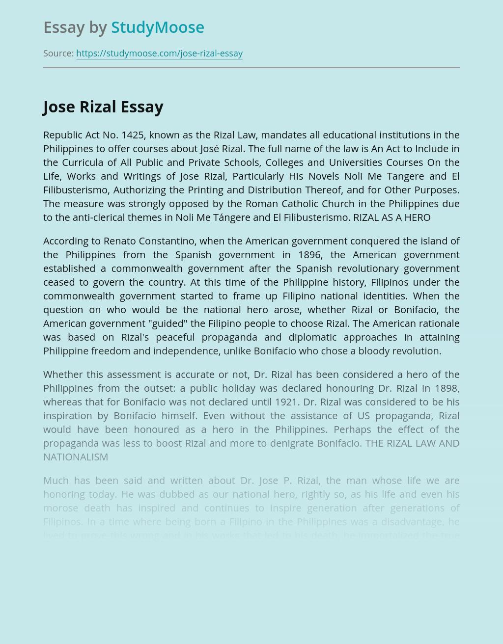 My Favourite National Hero Jose Rizal