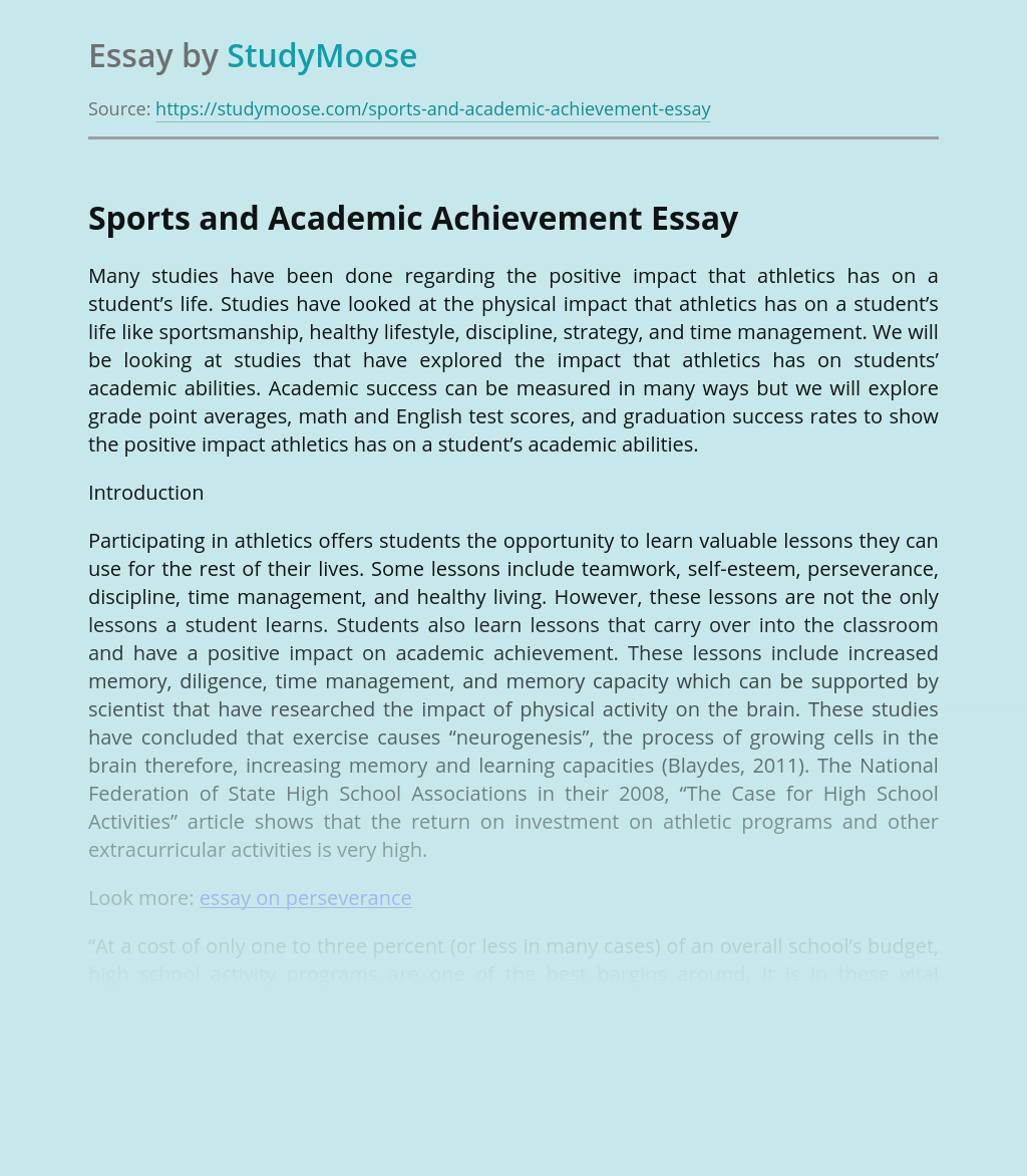 Sports and Academic Achievement